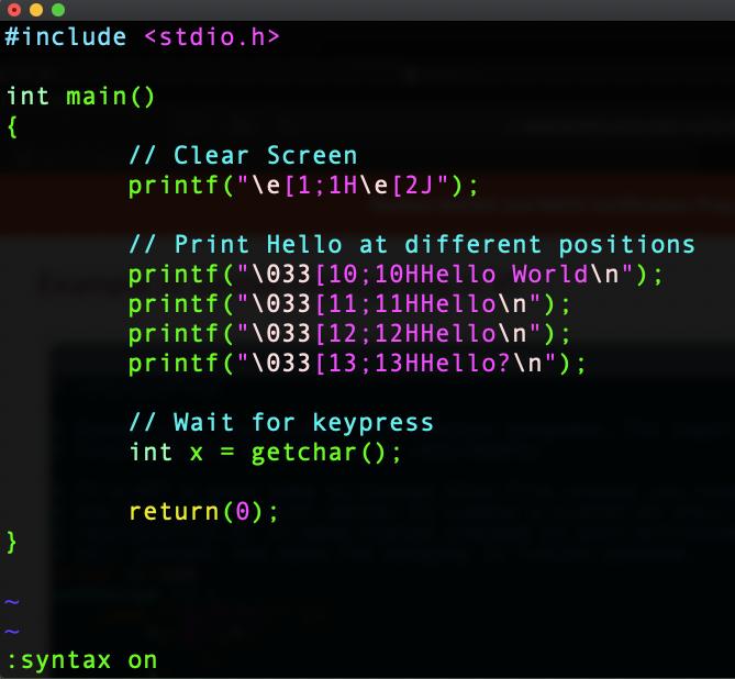 ANSI Escape Codes in C