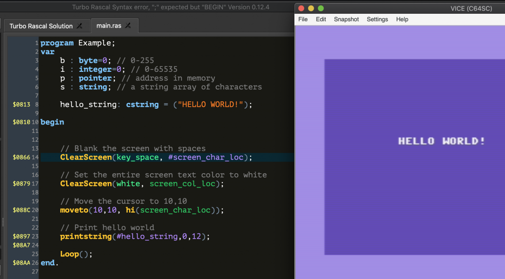 Example TRSE program compiled and running in Vice on my Mac